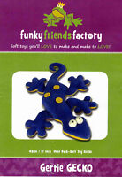 Gertie Gecko Soft Toy Pattern by Funky Friends Factory Machine or Hand - Sewable
