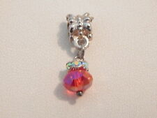 Vintage Jewellery - Silver Tone Pink Rhinestone Pendant - Deceased Estate