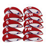 Red &White10PCS 4#-LW Golf Iron Covers Headcovers For Titleist Mizuno Taylormade