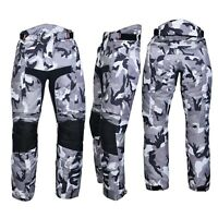 Men's Motorbike Motorcycle Waterproof Cordura Textile Trousers Pants Armour Camo