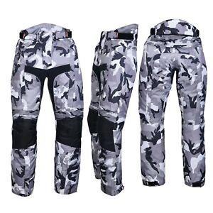 Men's Motorbike Motorcycle Waterproof Cordura Textile Trousers Pants Armour Camo