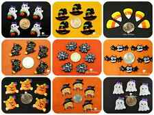 9 pcs Assorted Lot of Halloween Flatback Resins, Cabochons, Bow Centers