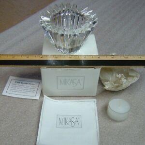 "NOS MIKASA ARDSLEY Crystal Candle Holder Cone Votive Tealight Germany NIB 2-3/4"""