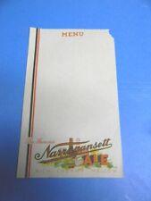 Rare Vintage 1930'S Narragansett Ale Beer Menu Sheet Cranston Ri