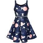 Girls Dress Navy Blue School Uniform Tank Dress Pleated Hem Size 5-12