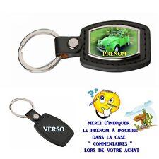 porte clé simili cuir auto 2cv verte personnalisé avec prénom choix réf 08
