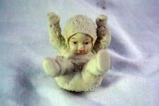 Dept 56 Snowbabies Tumbling In The Snow Laying On Back Figurine