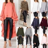Women Long Sleeve Asymmetrical Waterfall Shirt Tops High Low Plus Blouse Shirt