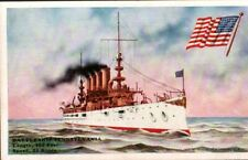 Vintage Military Postcard. Battleship Pennsylvania, & American Flag 1910's.  pb3