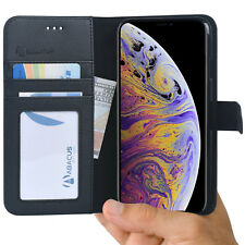 Black iPhone Xs Max Phone Case Wallet Flip Cover with Kickstand & Card Pockets