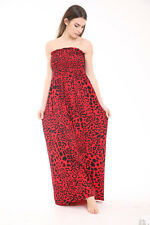 Womens Floral Print Sheering Maxi Dress Gather Bandeau Boobtube Dress Plus Sizes
