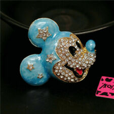 Betsey Johnson Charm Brooch Pin Gift Cute Blue Enamel Mouse Mickey Head Crystal