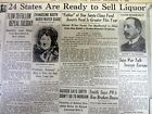 1933 headline newspaper PROHIBITION ENDING with REPEAL of the 18th Amendment