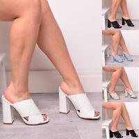 Ladies Women's Block Heels Mules High Slip On Summer Fashion Shoes Size