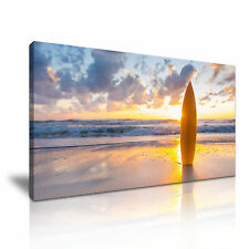 Surf Board Sea Sunset Canvas Wall Art Picture Print 60x30cm