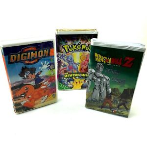 LOT of 3 VHS Tapes | Pokémon First Movie | DragonBall Z | Digimon | Clamshell
