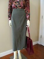 Vintage Midi Pencil Skirt sz 12 Olive Green Moleskin