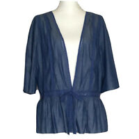 Matilda Jane Large Hour By Hour Jacket Large Blue Chambray Waist Tie Wrap Top L