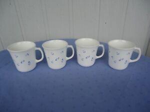 4 corelle corning ware morning blue  coffee mugs