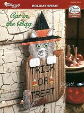 New listing Cat in the Bag Halloween Trick or Treat Cat Mouse plastic canvas pattern leaflet