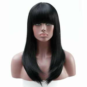 Women Wig Straight Cosplay Costume Black Flat bangs Synthetic Black NEW