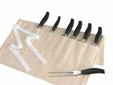 Cream Cotton Canvas Knife Roll/Wallet,wi 10 pockets 57.5 x 32cm for Chef / Cook