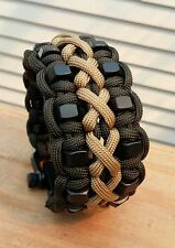 Custom Stitched Hex Nut Paracord Bracelet With Two Black Adjustable Shackle