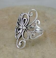 LONG .925 STERLING SILVER FILIGREE FLOWER RING size 7  style# r2113