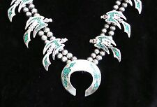 VINTAGE MUSEUM QUALITY STERLING SILVER INLAY NECKLACE EAGLES SQUASH BLOSSOM SGN.