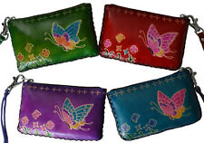 Leather Change/coin Purse, Rectangle, Flying Butterfly on both side, More color