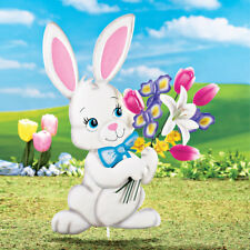 Easter Bunny Rabbit Tulips Flower Bouquet Yard Garden Stake Use Year After Year