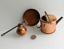 3 vintage copper miniature ornaments watering can milk churn frying pan