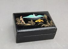 "Japan Black Lacquer Box Jewelry Trinket Vintage Mirror 4 x 2 3/4 x1 5/8"" Painted"