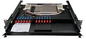 12 Fiber 1RU Rack Mount w/12 ST/UPC Simplex Adapters, Singlemode Pigtails & Tray
