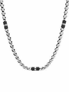 Fossil Herren Kette Silber Schwarz 50 cm JF03314040