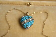 ANTIQUE 15CT GOLD TURQUOISE & SEED PEARL HEART PENDANT NECKLACE ON18 CT CHAIN