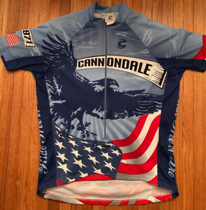Cannondale Jersey Men's Size Large Ride Free or Die USA Flag Eagle Cycling RARE