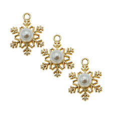 15X Enamel Gold Alloy+Pearl Snowflake Shaped Pendants Charms Accessories 53588