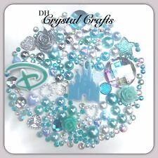 Disney Princess Castle Theme Flatback Gems Cabochon & Pearls In Blue Aqua AB #1