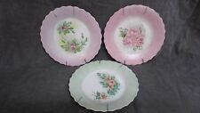 Handpainted Pastel Collector Plates Vintage Ruffled Edges Pinks Greens Hangers