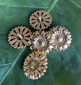 5 x 17mm Sunflower Gold Tone Metal Shank Buttons- Australian Supplier