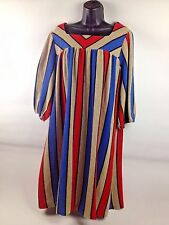 VTG Striped Puffy Sleeve MuuMuu Caftan Dress Hippie Boho Beach Lounge Tunic 70s