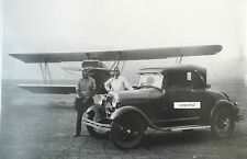 "Model A Sport Coupe w/ airplane & Pilots 12 X 18"" Black & White Picture"