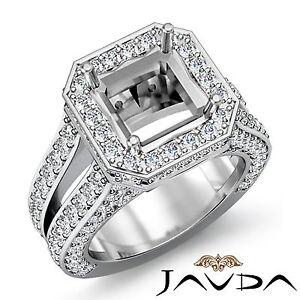 Diamond Engagement Ring Halo Setting 18k White Gold Asscher Semi Mount 2.52Ct