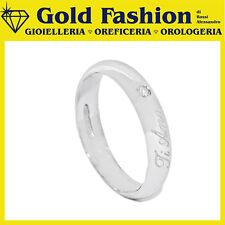 Anello fedina argento Tit.925 con incisione e diamante ct 0.02 - Thy Italy FE20