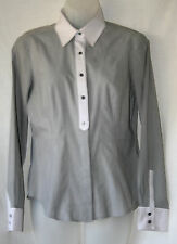 MARKS & SPENCER (UK10 / EU38) GREY STRIPED STRETCH BLOUSE WITH WHITE TRIMS