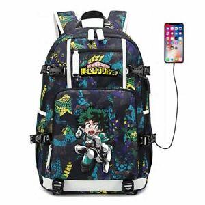 My Hero Academia Backpack USB Rucksack Bag School Bags