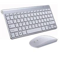 AM_ Smart TV Desktop PC 2.4G USB Ultra-thin Wirelesss Mute Keyboard Mouse Kit