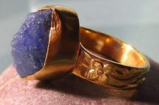 Gold plated brass everyday rough tanzanite ring UK L to L½/US 6-6.25