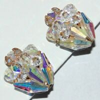 Vintage faceted aurora borealis AB crystal floral bouquet wired clip earrings